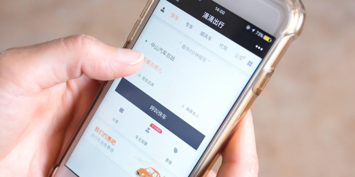 Zhongshan, China-April 8, 2018. Person booking a car on Didi ChuXing.
