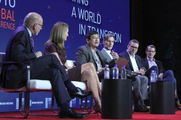 Esports panel at Milken event, left to right: Steve Cohen of AEG, Ann Hand of Super League Gaming, Dean Takahashi of GamesBeat, Ramon Herrera of Tencent, Nate Nanzer of Overwatch League, and Kent Wakeford of Gen.G.