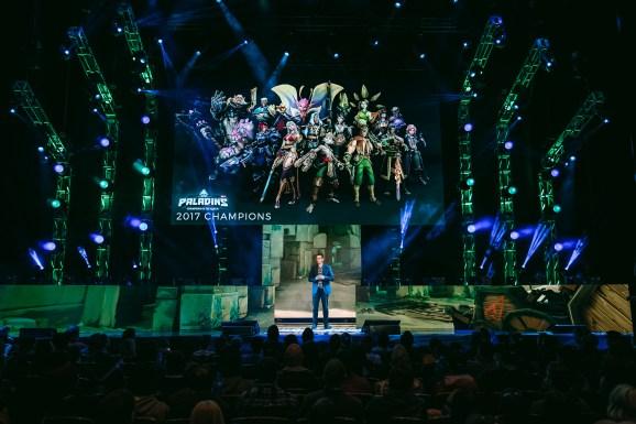 Hi-Rez Studios cofounder and Skillshot Media president Todd Harris on stage
