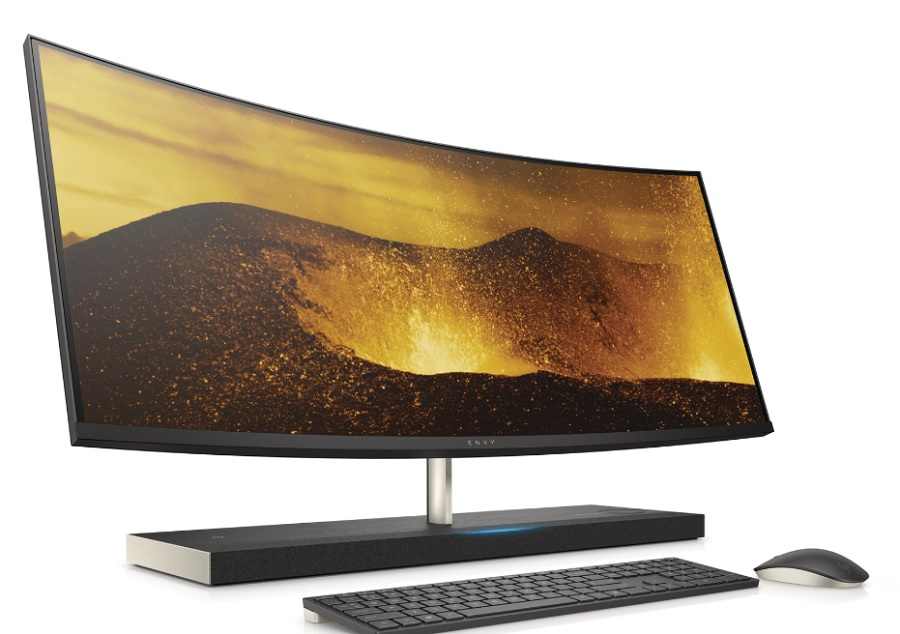Above HP Envy 34-inch curved