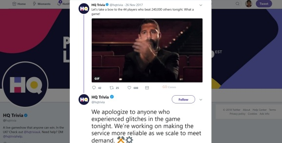 HQ Trivia suffered a glitch on Tuesday night.