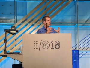Google AI chief Jeff Dean speaks with members of the AI community and press at the I/O developer conference