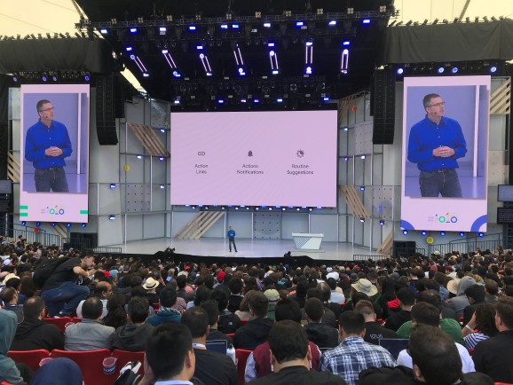 Google product manager Brad Abrams talks Google Assistant onstage at I/O held May 8, 2018 at the Shoreline Amphitheater in Mountain View, California