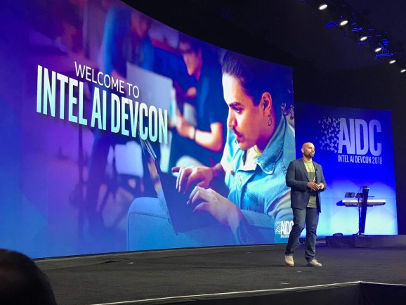 Intel VP and general manager of the AI product group Naveen Rao onstage at AI DevCon at the Palace of Fine Arts in San Francisco, California