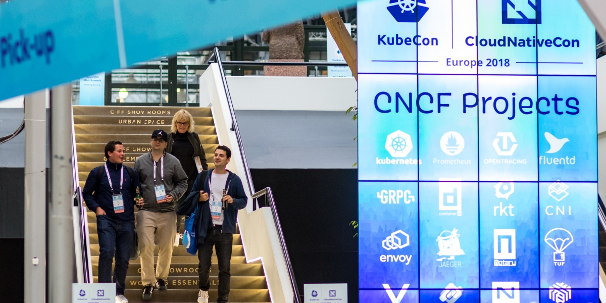 Attendees arrive at KubeCon + CloudNative Con Europe 2018 in Copenhagen.