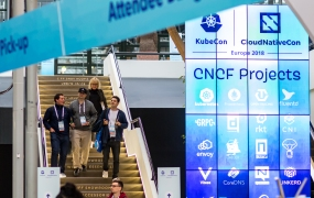 Attendees arrive at KubeCon + CloudNative Con Europe 2018 in Copenhagen.