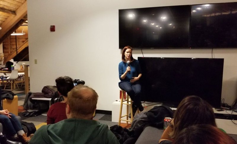IGDA executive director Jen MacLean speaking at the IGDA Boston chapter.