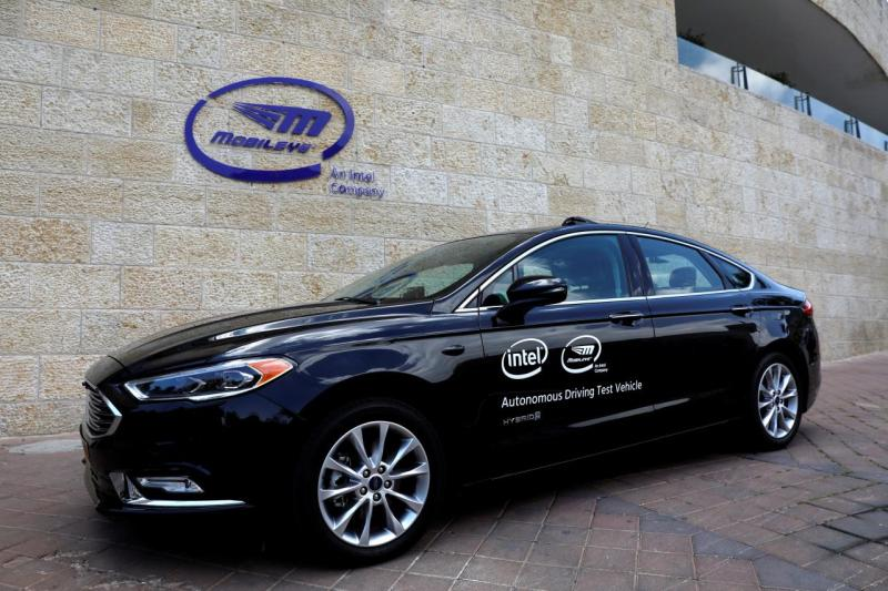 A general view of a Mobileye autonomous driving test vehicle, at the Mobileye headquarters in Jerusalem, May 15, 2018.