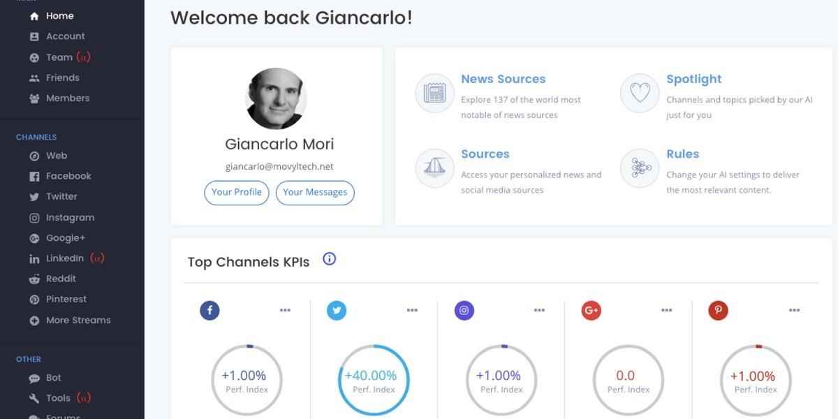 Movyl's dashboard for social media analysis.