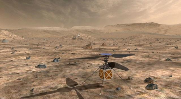 NASA's Mars Helicopter, a small, autonomous rotorcraft, which will travel with the agency's Mars 2020 rover, currently scheduled to launch in July 2020, to demonstrate the viability and potential of heavier-than-air vehicles on the Red Planet, is shown in this artist rendition from NASA/JPL in Pasadena, California, U.S. May 11, 2018.