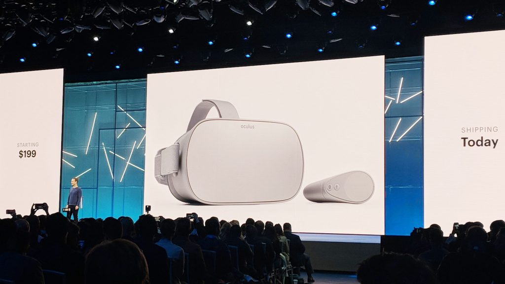 Facebook CEO Mark Zuckerberg announces the start of sales of Oculus Go VR headsets at F8 annual developer conference held May 1-2, 2018 at McEnery Convention Center
