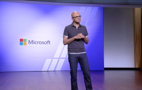 Microsoft CEO Satya Nadella onstage at Build 2018 held May 7-9 at the Washington State Convention Center in Seattle