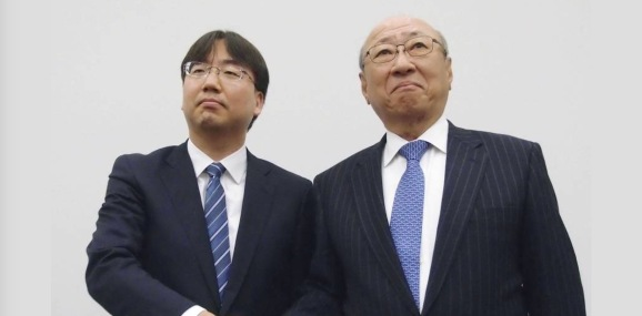 Incoming Nintendo president Shuntaro Furukawa and his predecessor, Tatsumi Kimishima.