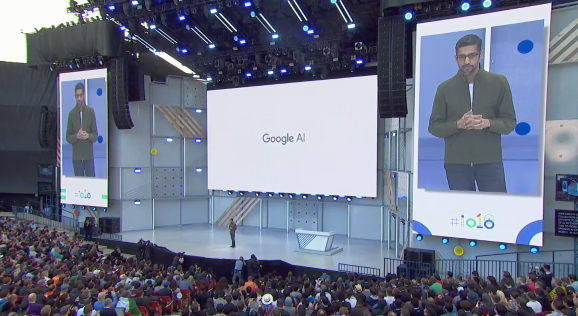 Google CEO Sundar Pichai onstage at the I/O developer conference