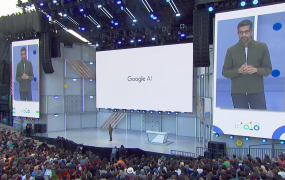 Google CEO Sundar Pichai onstage at the I/O developer conference