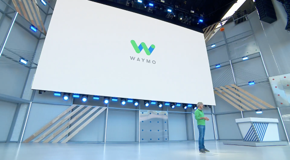 Onstage at Google I/O on May 8, 2018, Waymo CEO John Krafcik discusses his company's Phoenix, Arizona-based autonomous car fleet.