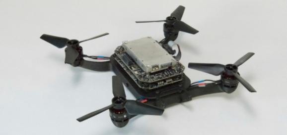 A drone equipped with Flight Goggles hardware.