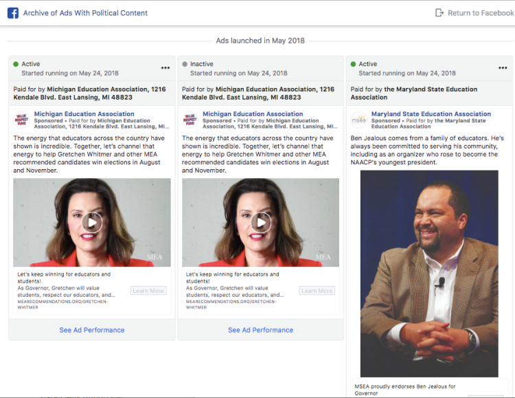 Facebook's U.S. political ad archive, which went live today, allows users to search for ads that deal with certain topics, such as education.