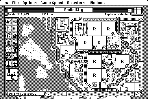 The original black-and-white SimCity for Mac.