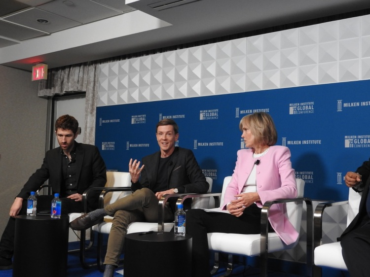 (Left to right) Tristan Harris of Center for Humane Technology, Chris Hughes of Economic Security Project, and Willow Bay of the USC Annenberg  School for Communication and Journalism.