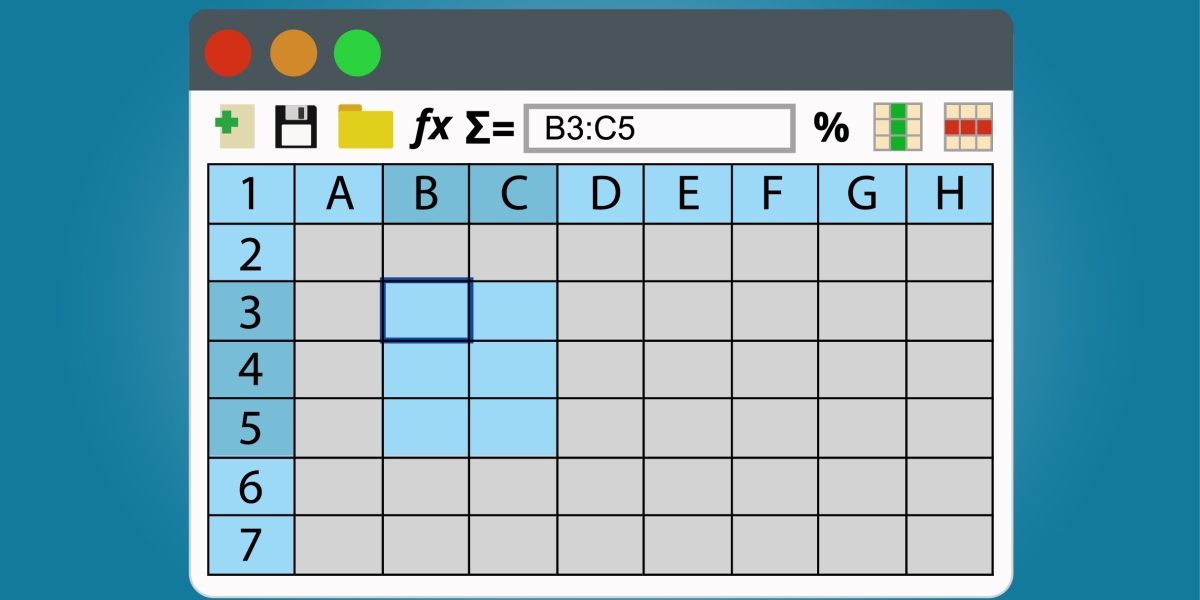 Spreadsheets program window.