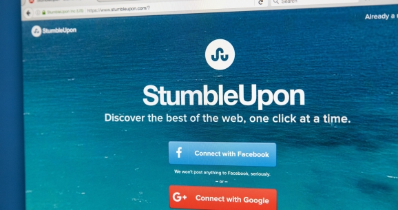 Homepage of the official website for StumbleUpon - a search engine that allows users to discover webpages that are personalised to their interests, on 7th August 2017.