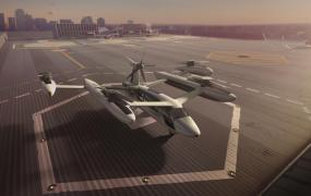 An illustrative view of Uber's concept electric vertical take-off and landing vehicle (eVTOL).