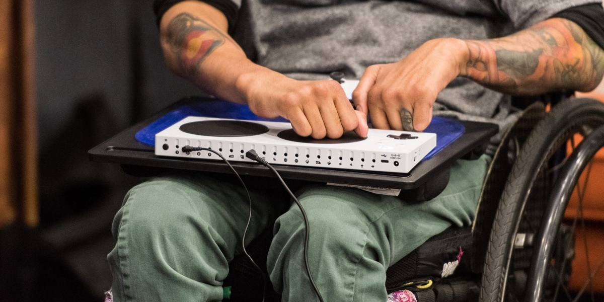 Mike Luckett plays with the Xbox Adaptive Controller.