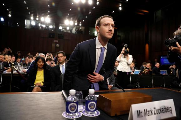 Facebook CEO Mark Zuckerberg arrives to testify before a Senate Judiciary and Commerce Committees joint hearing regarding the company's use and protection of user data, on Capitol Hill in Washington, DC, U.S., April 10, 2018.