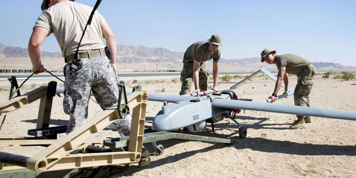 Soldiers prepare an RQ-7B Shadow drone for launch during Integrated Training Exercise 1-18 at Marine Corps Air Ground Combat Center, Twentynine Palms, Calif., Oct. 19, 2017. The soldiers are assigned to the 70th Brigade Engineer Battalion.