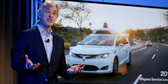 John Krafcik CEO of Waymo is pictured during the unveiling of a driverless car in New York City.