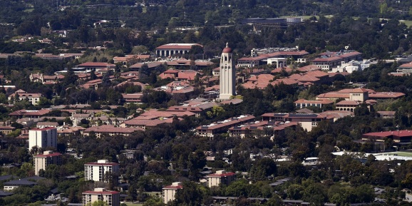 Stanford University's campus is seen in an aerial photo