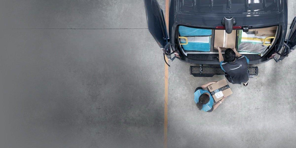 An Amazon-branded van