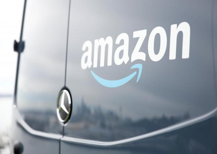 An Amazon Prime van during a press conference announcing Amazon.com's new program to help entrepreneurs build businesses delivering Amazon packages