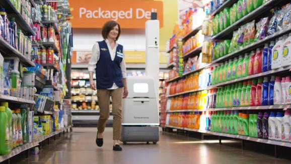A Bossa Nova robot scans Walmart shelves to inventory merchandise