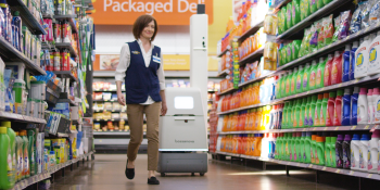 A Bossa Nova robot scans Walmart shelves to inventory merchandise