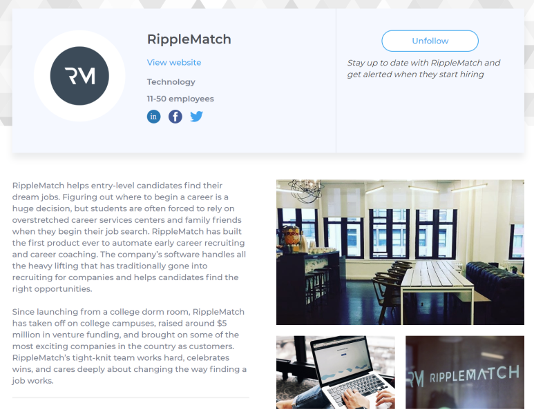 RippleMatch profile