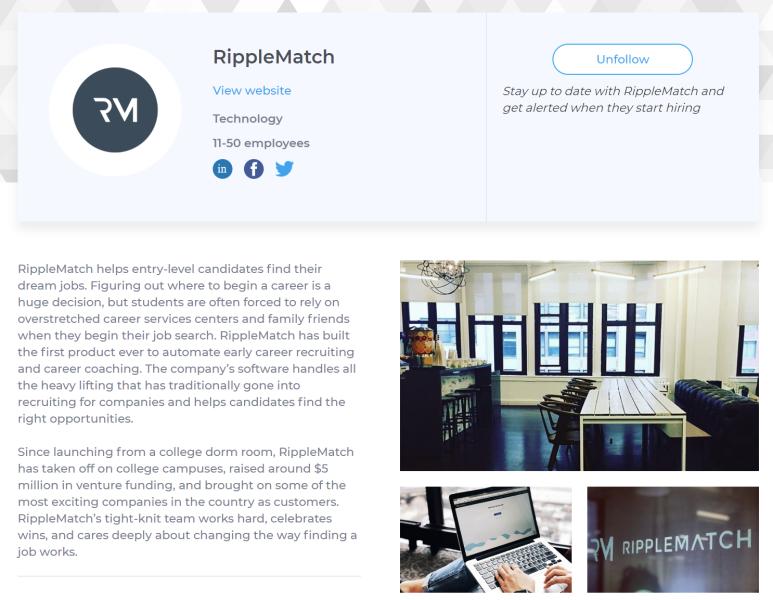 RippleMatch profile