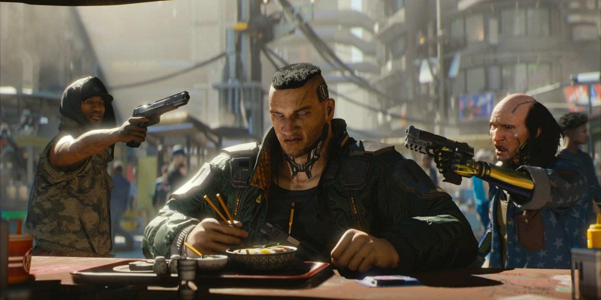 A cyberpunk working hard on Cyberpunk.