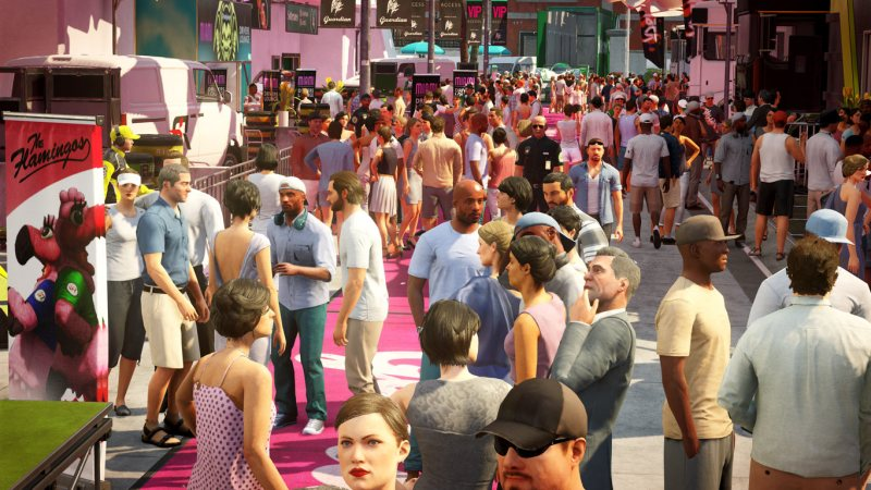The big crowd in Hitman 2's Miami level.