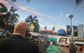 The scene of the crime in Hitman 2's Miami level.