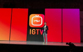 Instagram cofounder Kevin Systrom debuts IGTV at an event held in San Francisco July 20, 2018