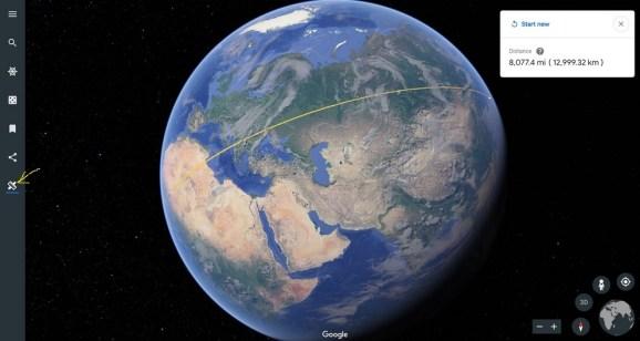Google Earth: A new 'measure distnace'