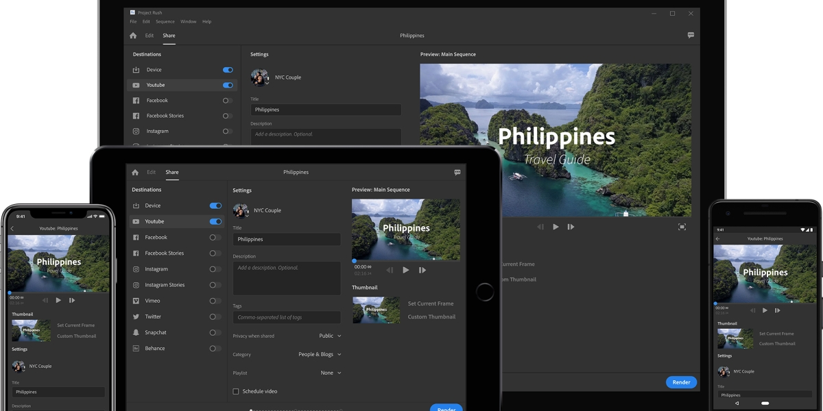 Adobe Rush One-Click Publish to Social