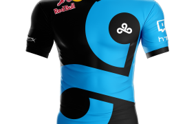A mockup of a Cloud9 jersey featuring the Red Bull logo.