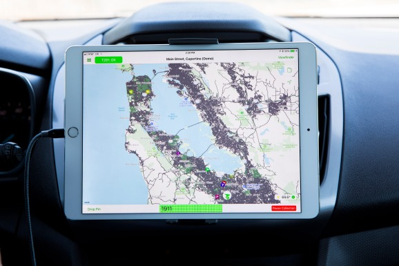 Apple's updated Maps data is shown in demo form on a cellular iPad.
