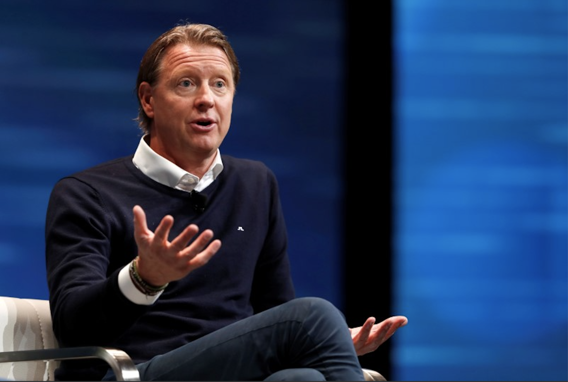 Hans Vestberg Verizon executive vice president and president of Global Networks and Chief Technology Officer speaks during a panel discussion on 5G wireless broadband technology during the 2018 CES in Las Vegas Nevada