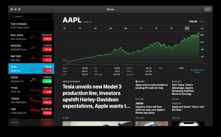 Apple's Stocks for macOS Mojave.