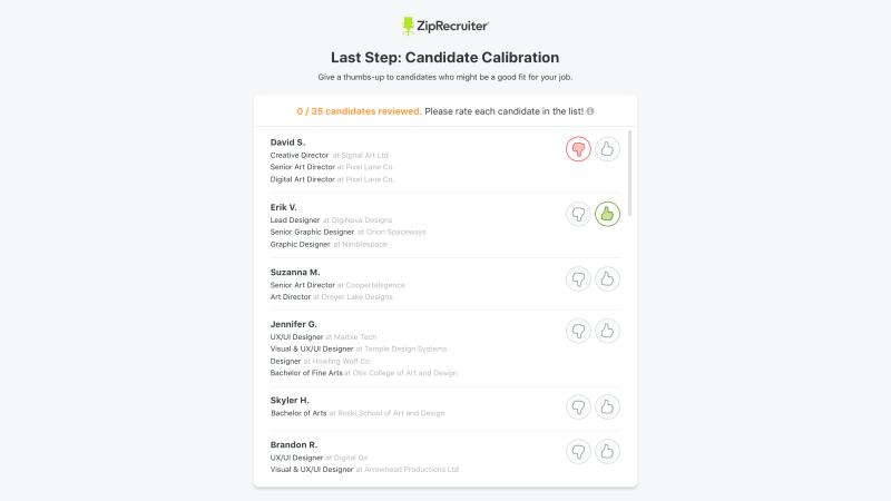 ZipRecruiter Candidate Calibration