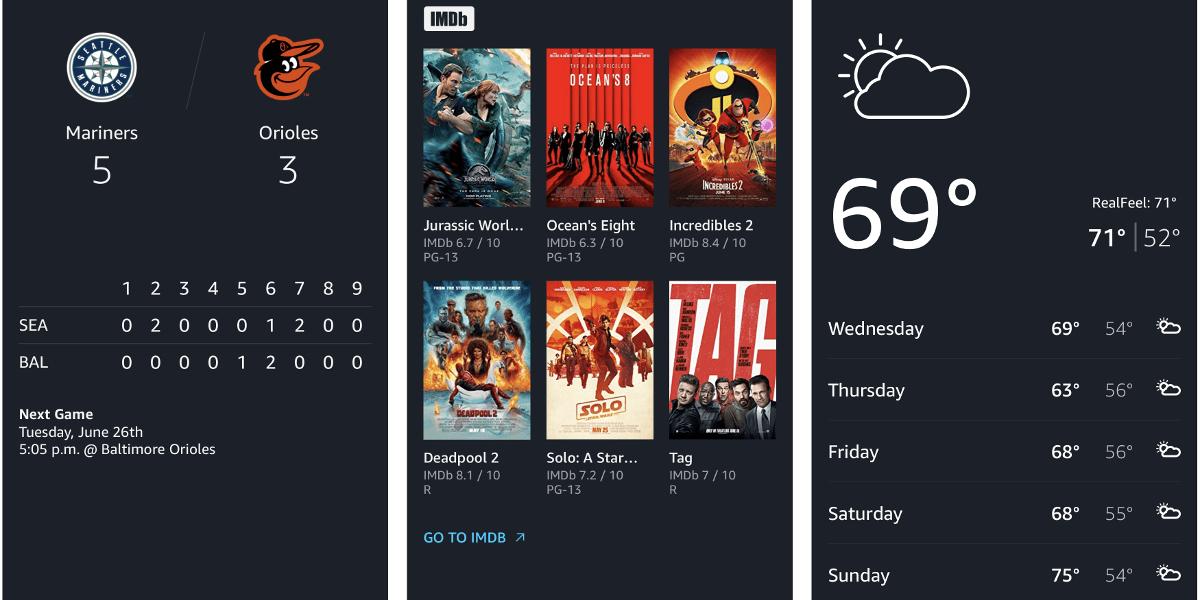 Alexa screenshots on Alexa iOS app